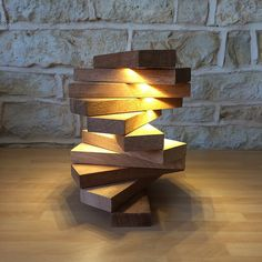 Hand Crafted Table Lamp Modern Spiral Geometric Stacking Architectural Blocks Modern Abstract Staircase Desk Light Home