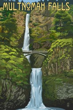 Multnomah Falls, Oregon - Summer View - Lantern Press Artwork (12x18 Gallery Quality Metal Art), Multi Tarzan, Multnomah Falls Oregon, National Park Posters, Kunst Poster, Oregon Travel, Travel Usa, Art Graphique, Vintage Travel Posters, Illustrations