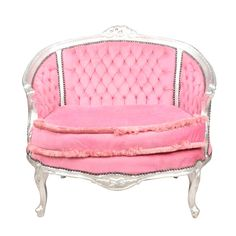 BARBARA French Louis XV Style Petite Pink Sette LoveSeat Sofa, Cottage Chic, Farmhouse SOLD by FabulousandFrench on Etsy https://www.etsy.com/listing/245569809/barbara-french-louis-xv-style-petite