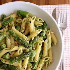 A bright and lemony pesto sauce with penne and asparagus. A quick and easy spring meal.