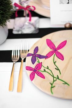 DIY painted plate chargers