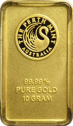 10 Gram Gold Australian Perth Mint Bar (Obverse). Each 10 gram gold bar is sealed in a tamper-proof assay card featuring a serial number along with the signature of the mint's chief assayer certifying the gold content and purity. The bars bear the Perth Mint's logo of a swan on the front. Also available in 1 oz., 5 oz., 10 gram, and 20 gram quantities.