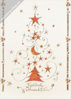 """Turnowsky Weihnachtsbaum aus roten Sternen, einem Mond und kleinen Christbaumkugeln. Goldene Schrift: """"Fröhliche Weihnachten""""."""