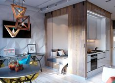 Kreatív lakberendezés egy kis 30m2-es lakásban - látványos, modern stílus, geometriai formák, praktikus elrendezés