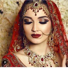 Asian bridal hair and makeup Asian Bridal Hair, Asian Bridal Makeup, Indian Makeup, Bridal Hair And Makeup, Bride Makeup, Indian Bridal, Wedding Makeup, Bollywood Makeup, Indian Goddess