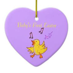Baby's First Easter Singing Chick Heart Ornament #Easter #ornament #heart #babychick #music #purple #yellow #home #holidays