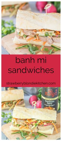 These Banh Mi Sandwiches are packed with bold Asian flavors. Pork is marinated in House of Tsang Szechuan SpicyTM Sauce and their Bangkok Peanut SauceTM dresses the vegetable coleslaw, which is piled high on top the pork. A few peanuts are added for crunch and you've got yourself the perfect Banh Mi Sandwich. | Strawberry Blondie Kitchen