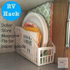 Keep your paper plates and napkins in a magazine file so they'll be easy to grab whenever you have guests over.