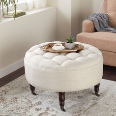 Shop Abbyson 'Clarence' Tufted Round Ottoman - On Sale - Overstock - 8133903 Log Cabin Furniture, Furniture Deals, Rustic Furniture, Living Room Furniture, Home Furniture, Antique Furniture, Outdoor Furniture, Modern Furniture, Deco Furniture