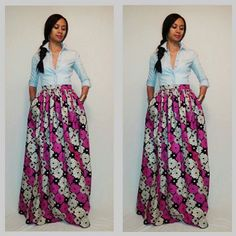 African Print Maxi Skirt with pockets by MelangeMode on Etsy