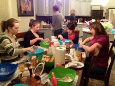 Pinterest Party - everyone brings a snack to share (recipe from pinterest, of course), and one person takes care of choosing the craft & getting supplies