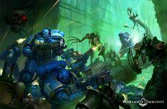 Tyranid Warrior, Salamanders Space Marines, Necron Warriors, Fire Warrior, Grey Knights, Warhammer 40k Art, Tyranids, Knight Art, Cover Art