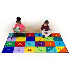 Rainbow Alphabet Carpet - Perfect for children to sit and enhance word and letter recognition in a fun and interactive way. Sassoon Infant font in upper and lower case. Soft textured loop and non slip safety backing.