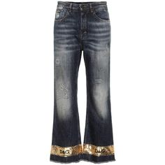 Dolce & Gabbana Sequin Embellished Wide-Leg Jeans ($1,290) ❤ liked on Polyvore featuring jeans, pants, blue, dolce gabbana jeans, sequined jeans, blue jeans, wide leg jeans and wide leg blue jeans