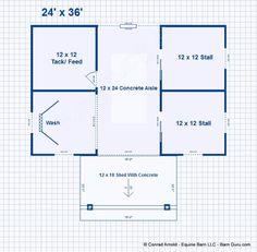 2 Two Stall Barn Plans - - Design Floor Plan