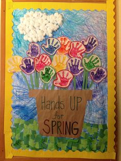 Spring Preschool Bulletin Board - May Flowers Door! Preschool Projects, Daycare Crafts, Classroom Crafts, Preschool Art, Classroom Door, Spring Theme For Preschool, Classroom Ideas, April Preschool, Holiday Classrooms