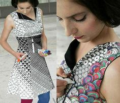 Fashion designer Berber Soepboer and graphic designer Michiel Schuurman created this paint by numbers dress that comes with a variety of pens.
