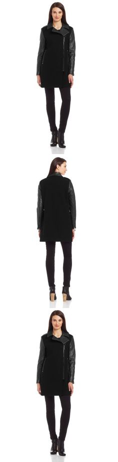 Vince Camuto Women's Mixed Media Moto Wool Coat, Black, X-Small