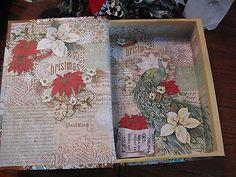 New Christmas Aqua Peacock Winter Theme Memory Storage Box w/Bling!