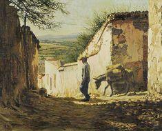 "Clark Hulings (1922 – 2011) was an American realist painter. ""The grain merchant"""