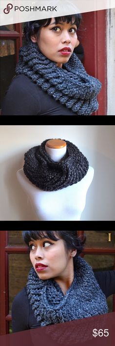 ⭐️ NEW ⭐️ Hand Knit Sparkle Cowl Scarf Infinity Stay warm and look fabulous with this handmade cowl. Hand knit by yours truly, I can assure you that it is of the highest quality and will last you a long time! Made of a unique sparkle yarn that is 20% wool, 80% acrylic. Fits around your neck like a cowl but is a bit more voluminous and interesting-' like an infinity scarf. More colors in my boutique. I will also take custom orders! Charcoal Grey Gray. RackFocus Accessories Scarves & Wraps