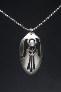 sterling silver angel spoon necklace with blue lace agate
