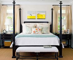 Black furniture paired with light, neutral walls creates a strong look in this bedroom: http://www.bhg.com/decorating/decorating-photos/bedroom/bold-in-black/?socsrc=bhgpin021515boldinblack&bedroom