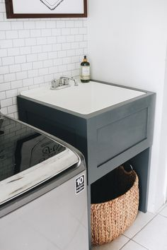 How to Hide Your Utility Sink: Faux Cabinet Tutorial - Within the Grove <br> Ready to give your utility sink a makeover? Here's how to build a modern faux cabinet that will conceal your sink by sliding it right in front. Small Utility Sink, Laundry Room Utility Sink, Mudroom Laundry Room, Laundry Room Remodel, Small Laundry Rooms, Laundry Room Organization, Laundry Room Design, Laundry In Bathroom, Laundry Room Sink Cabinet
