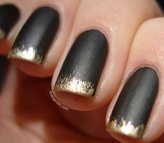 Make your matte black mani that much more interesting with flecks of gold at the tips. Get the tutorial from Love Varnish »