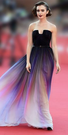 Celebrity Style: Lily Collins wears Elie Saab Spring 2014 Couture ombre gown