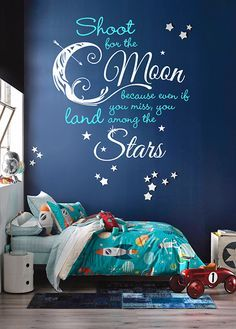 Shoot For the Moon, Land Among the Stars Quote Vinyl Wall Decal Room Decor Sign | Dana Decals
