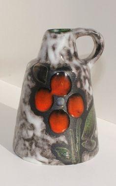 Ruscha Fat Lava German Pottery Jar // Orange Flower by TheBlueRam, $30.00