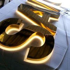 Chữ inox vàng 304 Backlit Signage, Signage Board, Restaurant Signage, Wayfinding Signage, Signage Design, Restaurant Design, Sushi Bar Design, Monument Signage, Name Plate Design