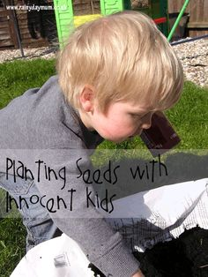 Gardening with Toddlers using easy to plant seeds and upcycled seed planters from http://www.rainydaymum.co.uk