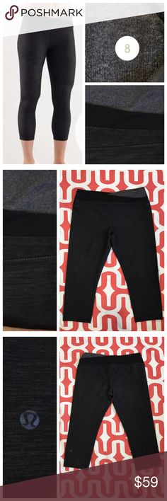 "Lululemon Astro Wunder Under WU crops Black slub Denim Heathered coal. Excellent Preloved condition. Inner waistband pocket. 21"" inseam. No trades. No PayPal. Price firm unless bundled. lululemon athletica Pants"