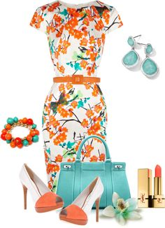 """Turquoise And Coral"" by sherryvl on Polyvore"