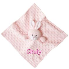 PersonalizeMyBabyBlanket.com - Elegant Baby Minky Dot Pink Bunny Baby Lovie Security Blanket Blankie - Personalized Embroidery, $20.99 (http://personalizemybabyblanket.com/elegant-baby-minky-dot-pink-bunny-baby-lovie-security-blanket-blankie-personalized-embroidery/)