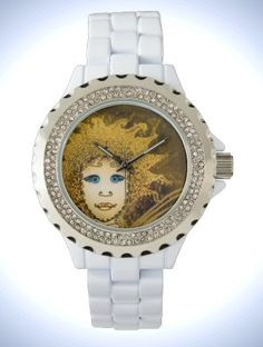 Women's Rhinestone White Enamel Watch with Art Déco Style gold-yellow Fairy Face