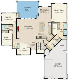 Exclusive Modern House Plan with Kitchen at the Center - 85134MS floor plan - Main Level