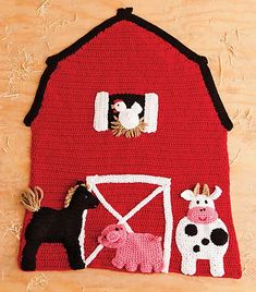 Only available in Crochet Today Magazine Jan/Feb Ravelry: Red Barn Blanket pattern by Michele Wilcox Baby Afghans, Baby Blanket Crochet, Crochet Baby, Free Crochet, Kids Blankets, Knitted Blankets, Applique Patterns, Crochet Patterns, Crochet Ideas