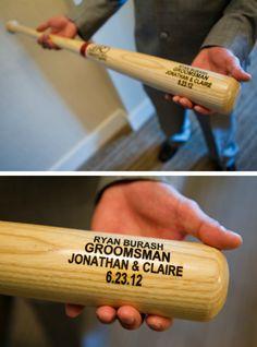 Sports wedding ideas: Baseball themed groomsmen gift