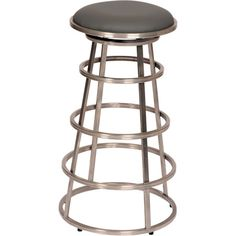 Armen Living Ringo 26 in. Gray Faux Leather and Brushed Stainless Steel Finish Backless Barstool
