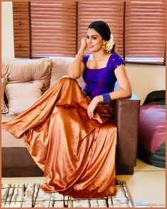 Kerala Saree Blouse Designs, Half Saree Designs, Lehenga Designs, Salwar Designs, Long Skirt Top Designs, Long Skirt And Top, Long Gown Dress, Lehnga Dress, Lehenga Skirt