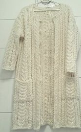 My handknitted cable jacket, coat. Design: Annelise Bjerkely