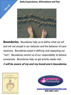 May 30 Daily CareGiver Affirmation: Boundaries #caregiver #caregiving #familycaregiver