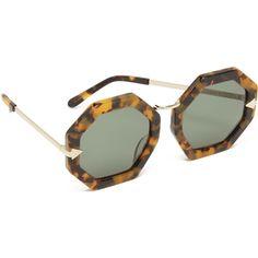 Karen Walker Moon Disco Sunglasses ($300) ❤ liked on Polyvore featuring accessories, eyewear, sunglasses, round frame sunglasses, octagon sunglasses, octagon glasses, tortoise glasses and tortoise shell sunglasses