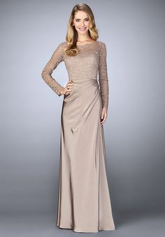 La Femme Evening 23435 Champagne Mother Of The Bride Dress