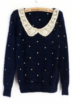 Sewing Idea - Lace Collar & Sequins - www.SheInside.com - Shown: Navy Vintage Polka Dot Sequins Collar Fluffy Jumper Sweater 43.28 (Cheap! ! !)