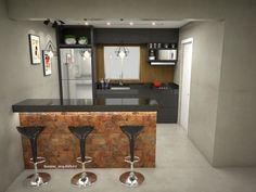 """126 curtidas, 8 comentários - Flávia Soares Arquitetura (@fsoares_arquitetura) no Instagram: """"Estudo desenvolvido para a reforma da cozinha do apartamento IC. Transformação de uma pequena…"""""""