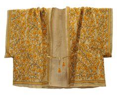 abaya soie kantha jaune